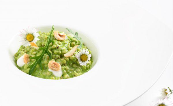 sorgo mantecato alla rucola vegan senza glutine naturale chef Emanuele Giorgione libro Cucinare per Tutti Italian Gourmet foto Francesca Bettoni